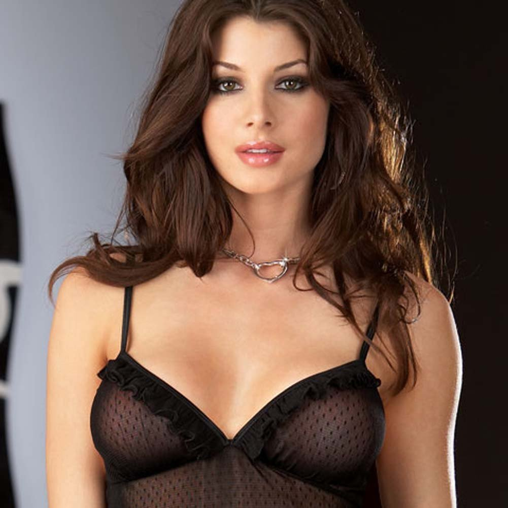 Classy Patterned Chemise with Chain Heart Cuffs and Panty - View #3