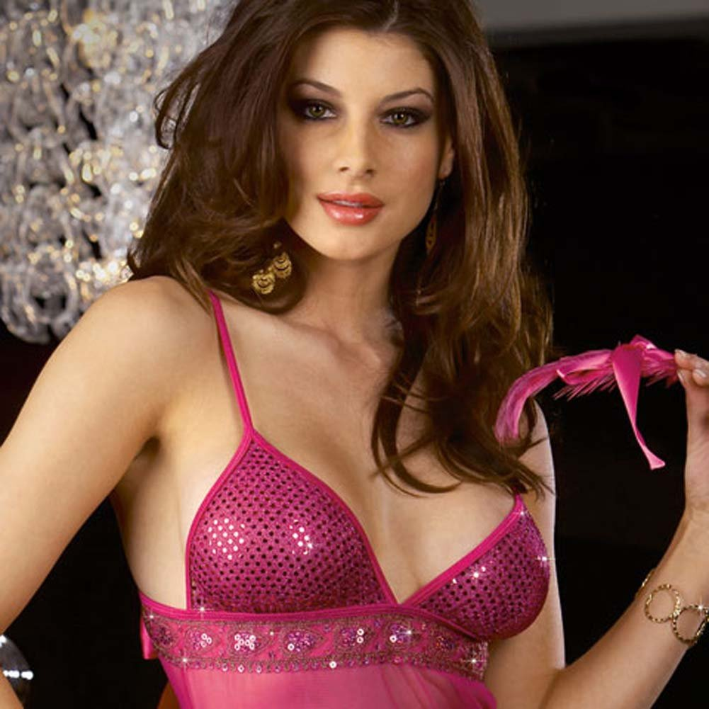 Metallic Sequined Babydoll with Thong and Feather Tickler - View #3