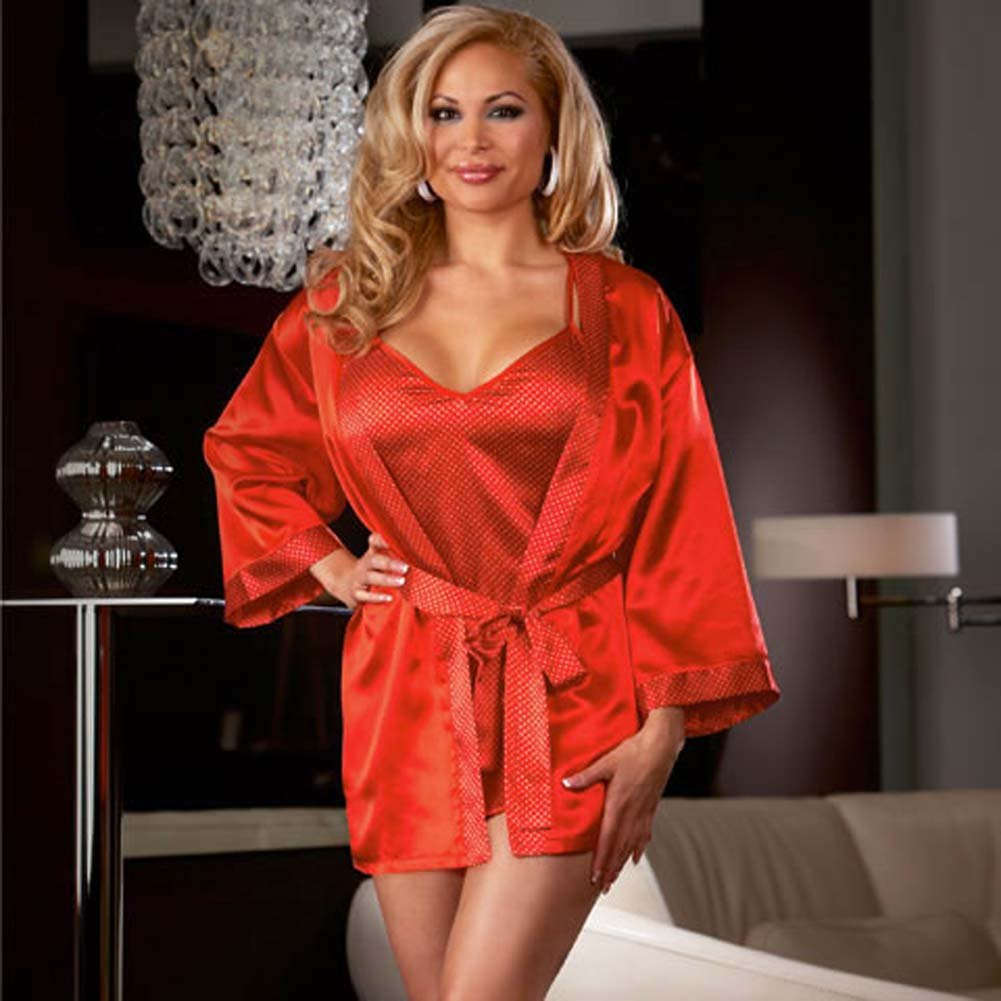 Polished Polka Dot Babydoll and Robe Set Red Size Plus 3X/4X - View #1