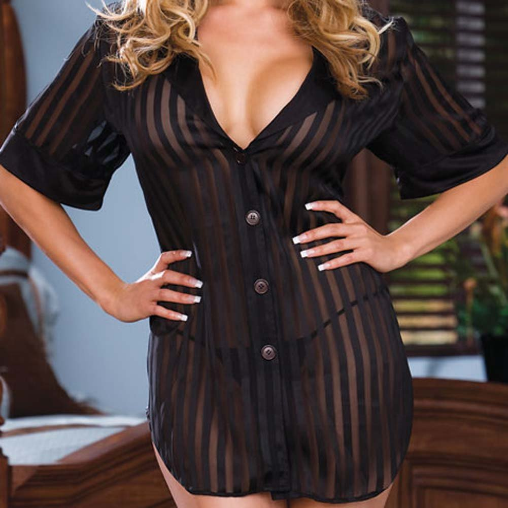 Shirt Styled and Striped Babydoll with Panty Black PS 1X/2X - View #3