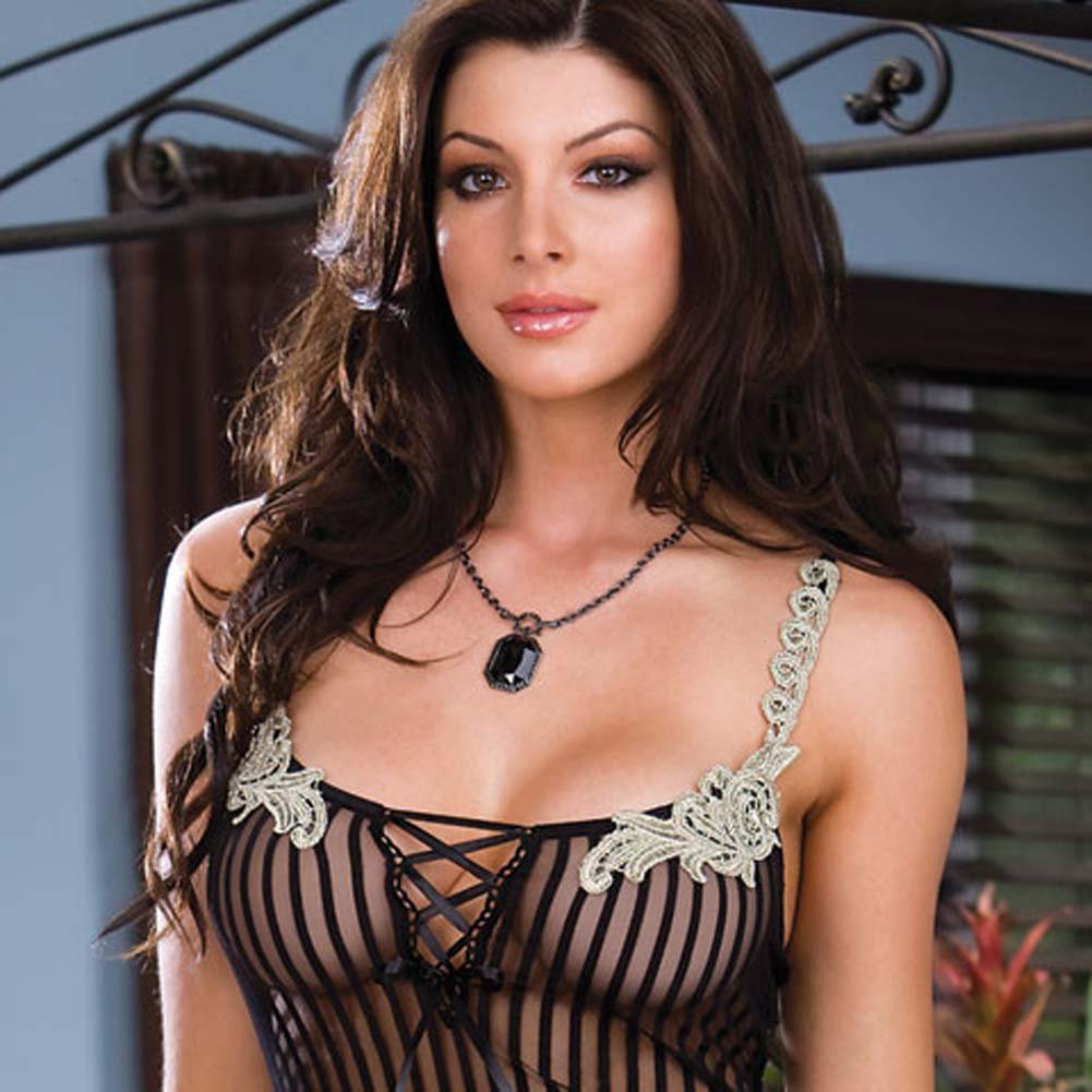 Pinstriped and Pretty Chemise with String Thong Small - View #2