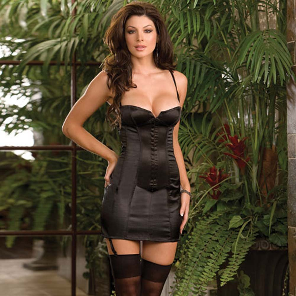 Satin Corset Dress with Boning to Waist Black Size 32 - View #1