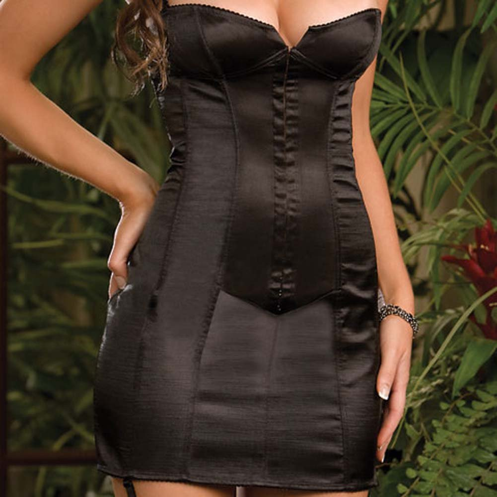 Satin Corset Dress with Boning to Waist Black Size 32 - View #3