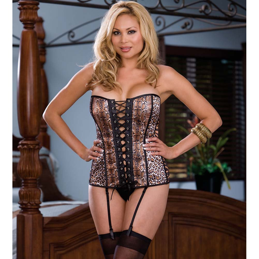 Reversible Animal and Cobra Skin Patched Corset Size 44 - View #2
