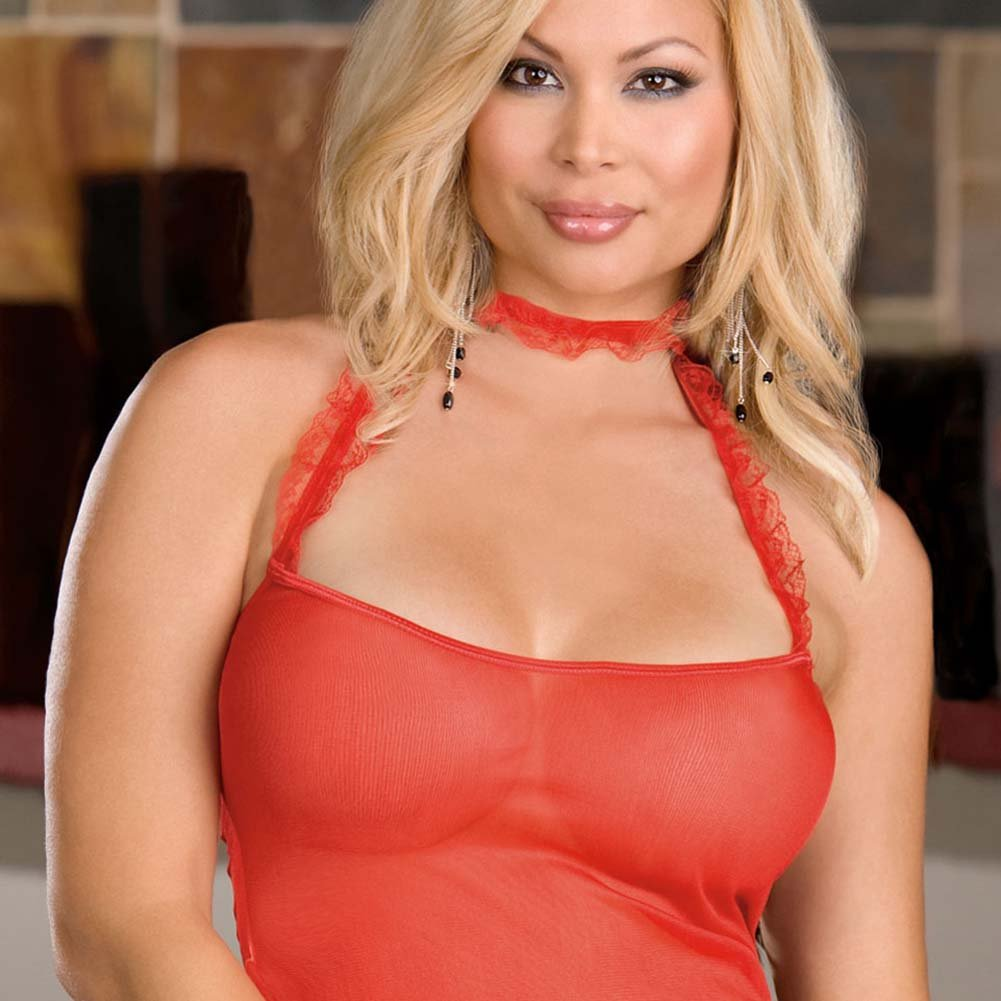 Ruffled Red Camisole with Slit Thong and Cuffs Plus Size - View #2