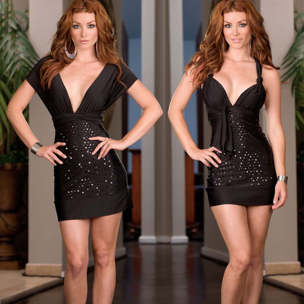 Versatile Dress with Thong and Styling Instructions Black - View #3