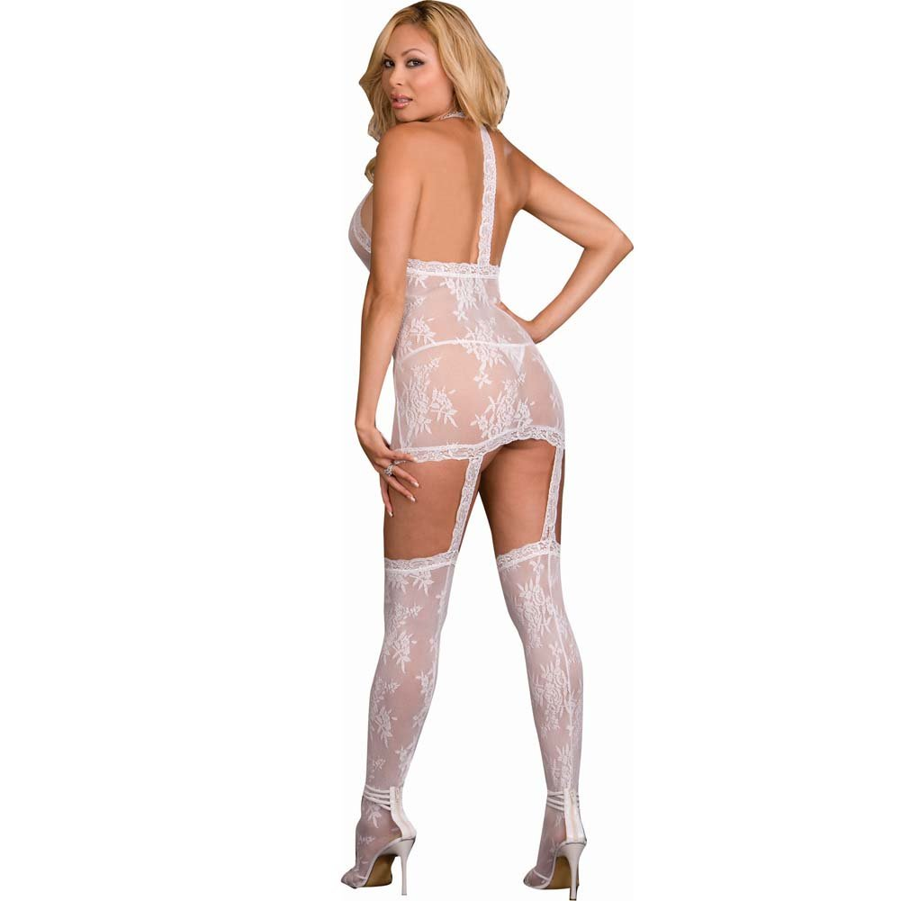 Floral Lace Halter Dress with Attached Garters and Stockings Plus Size White - View #2