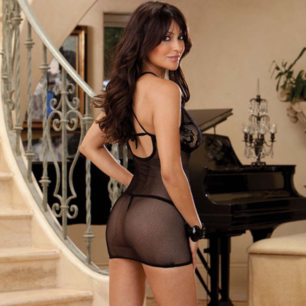 Naughty Seduction Chemise and G-String Black - View #2