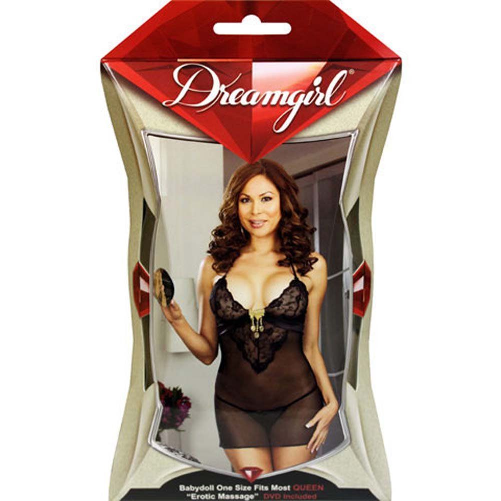 Gold Charm Chemise Set with Sensual DVD Plus Size Black - View #4