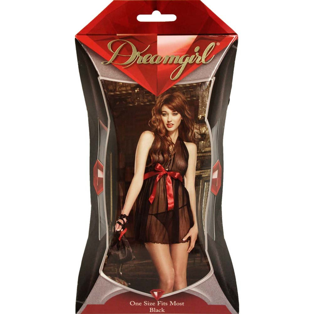 Dreamgirl Midnight Rendezvous Babydoll Set with Pouch One Size Black - View #4