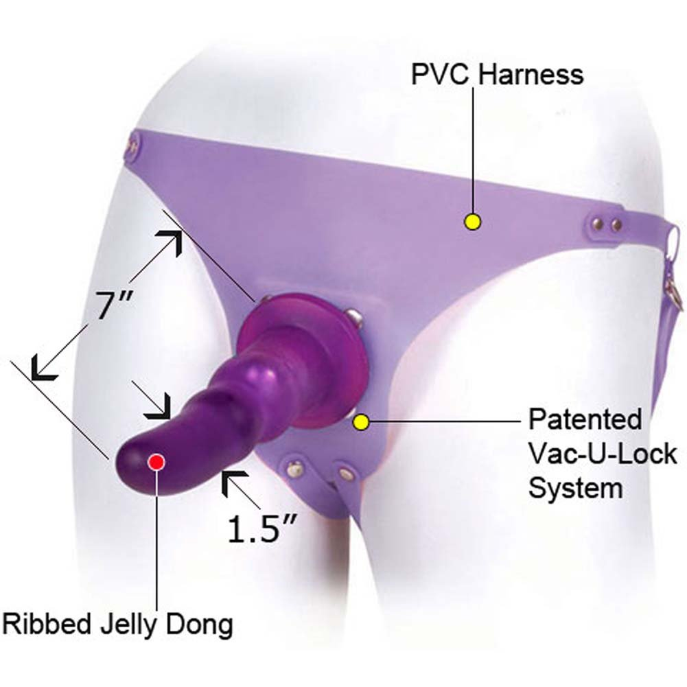 "Jennas Strap-On Harness with Jelly Dong 7"" Sexy Purple - View #1"
