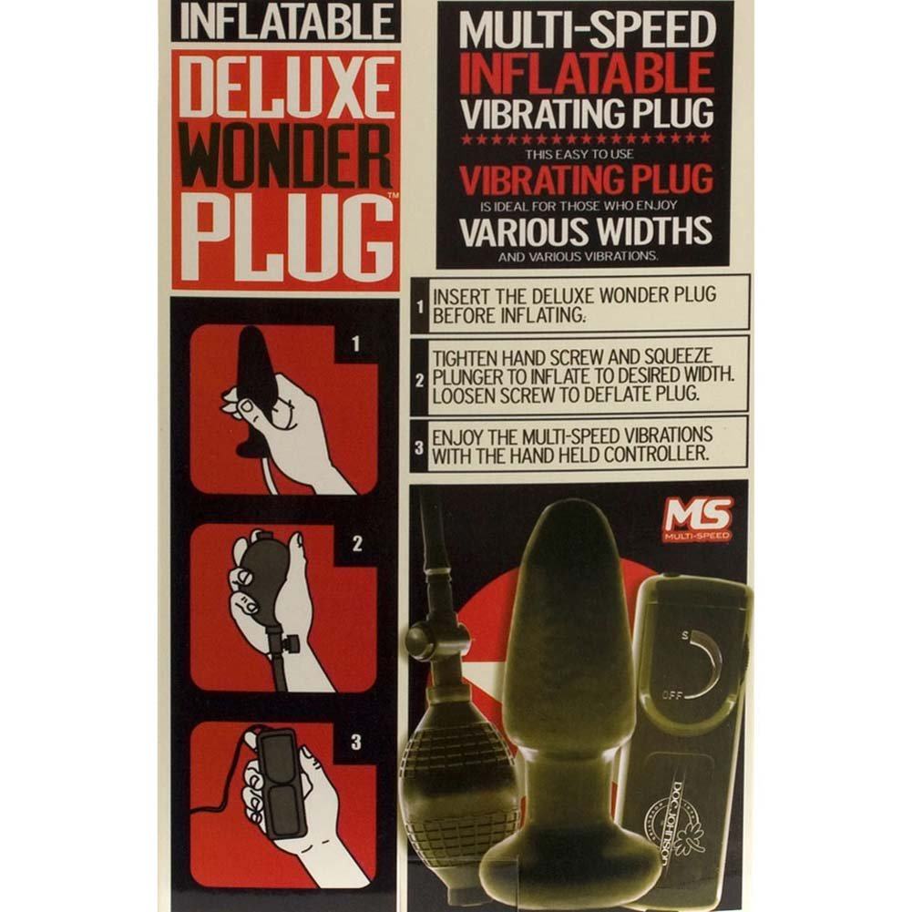 """Deluxe Wonder Inflatable Vibrating Plug 5"""" Black. - View #3"""