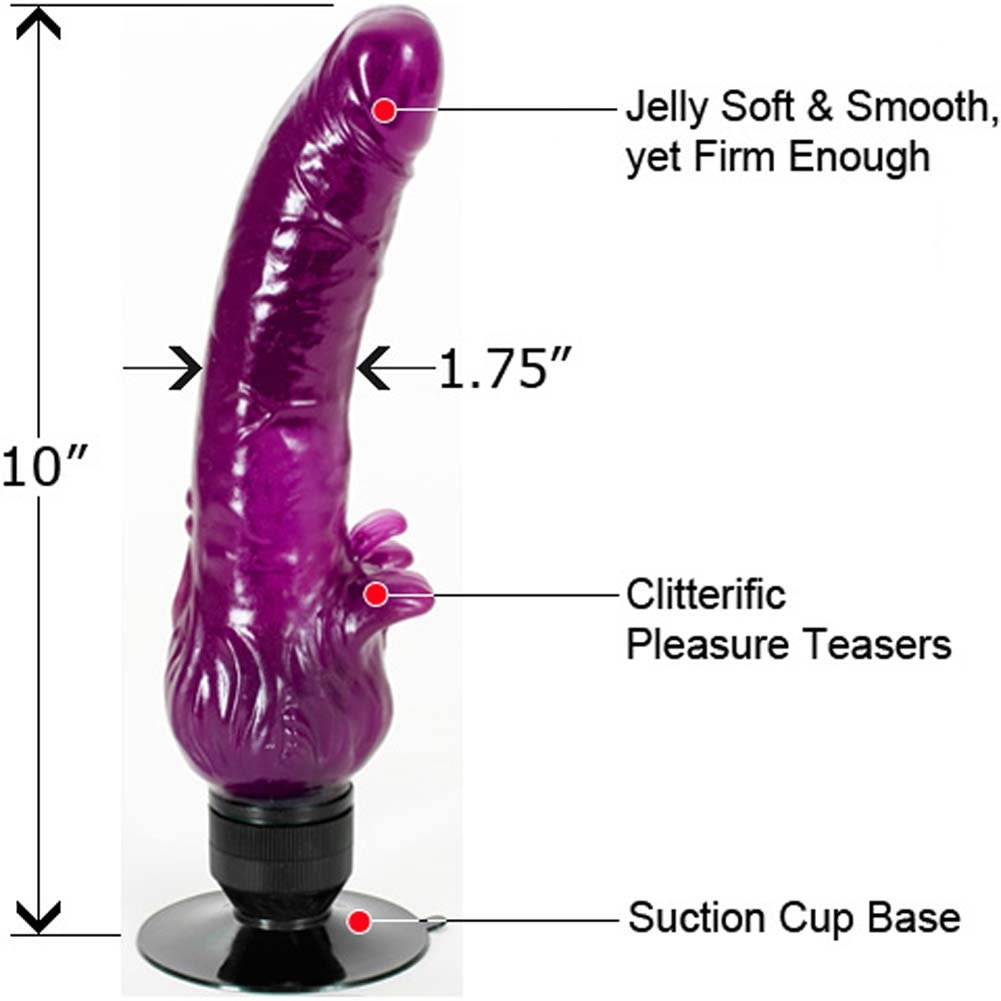 "Wet Toys Jelly Clitterific Suction Cup Vibe 10"" Purple - View #1"