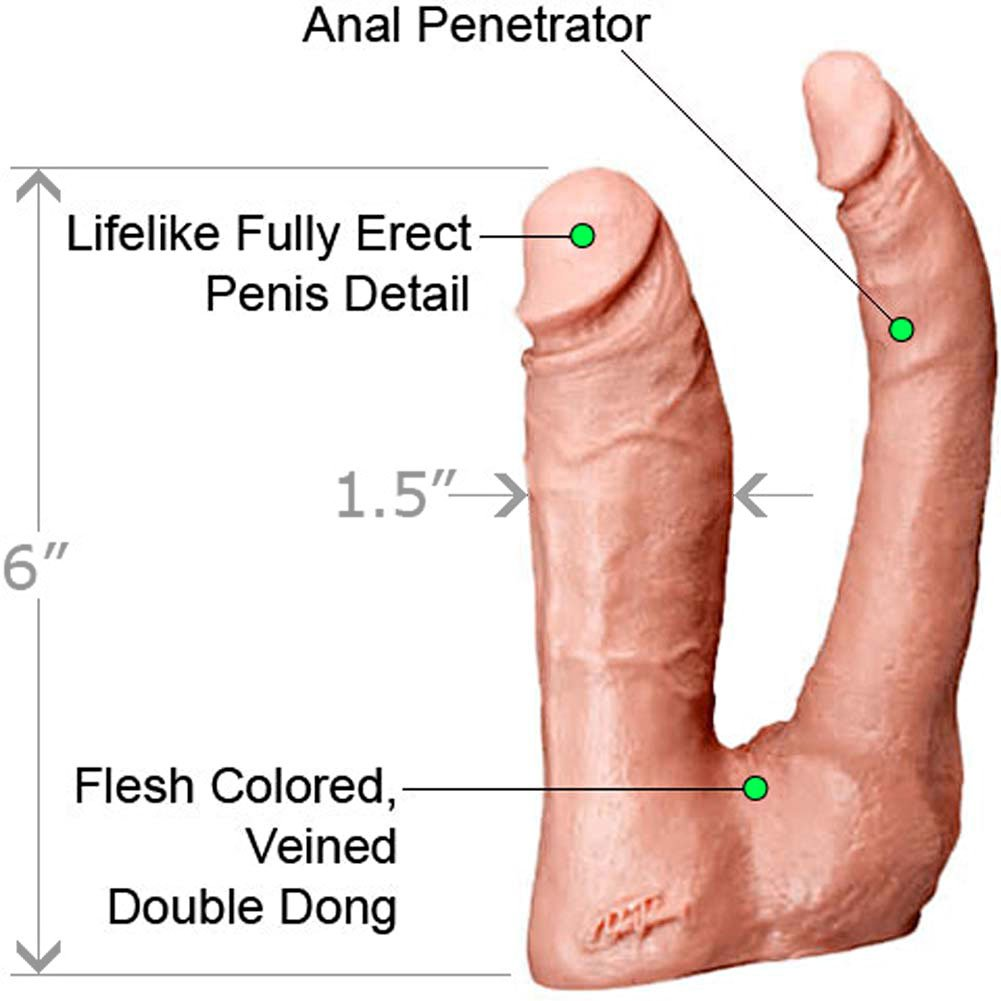 "Vac-U-Lock Double Penetrator Dong 6"" Natural - View #1"