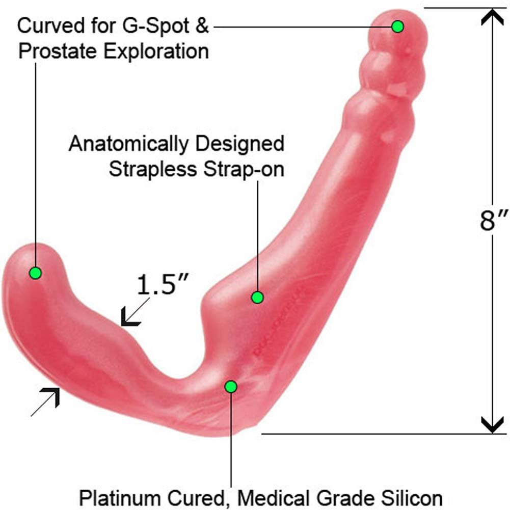"Platinum Silicone Gal Pal Strapless Strap-On Dong 8"" Pink - View #1"