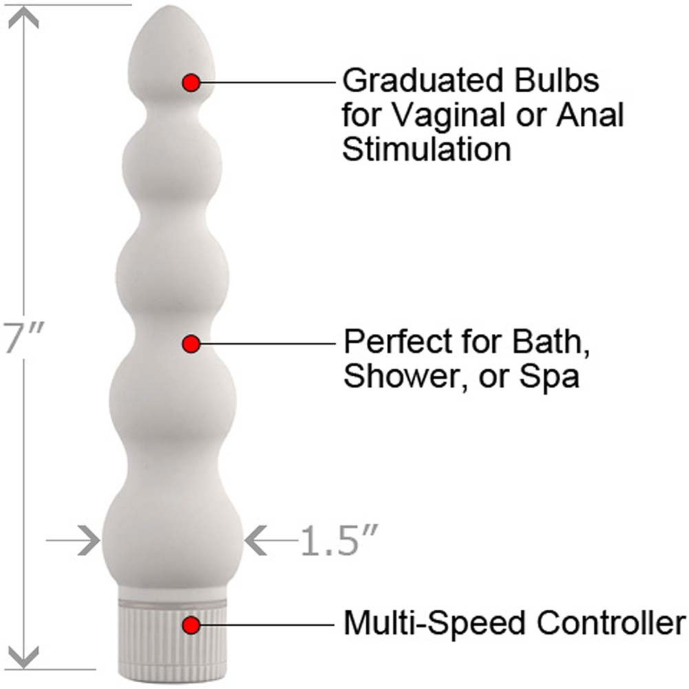 "White Nights Ribbed Vibrator 7"" White - View #1"