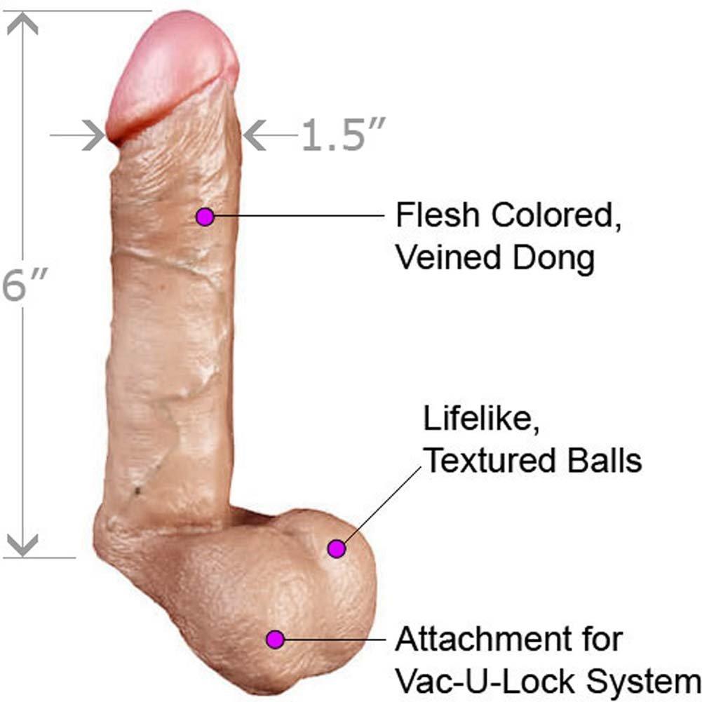 "Doc Johnson Vac-U-Lock Realistic Cock with Balls 6"" Natural - View #1"