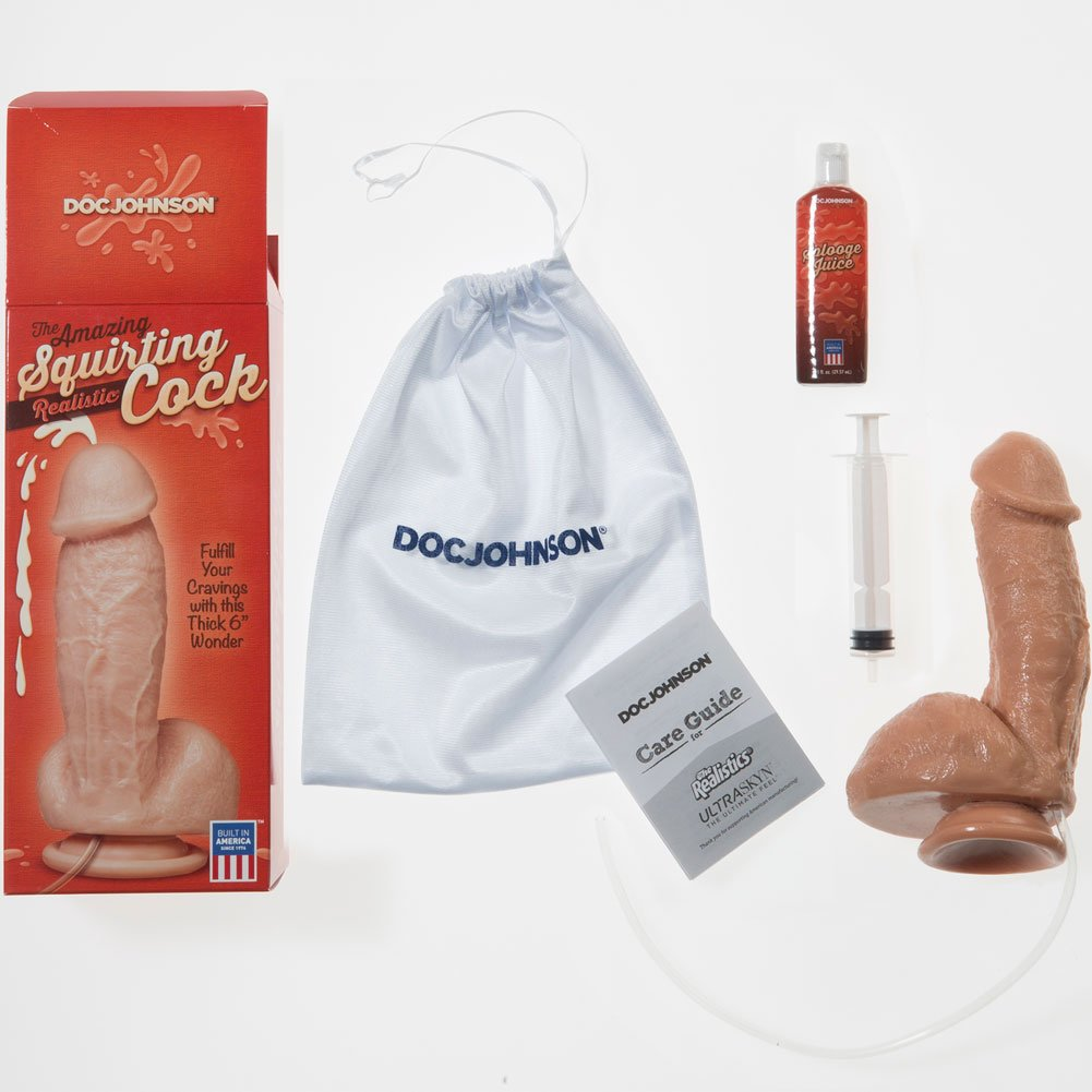 "Squirting Realistic Cock with Balls 7.5"" Natural - View #3"