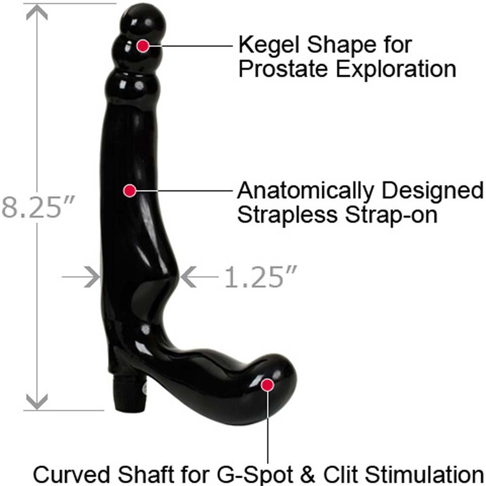 "Gal Pal Vibrating Strapless Strap-On Double Dildo 8.25"" Black - View #1"