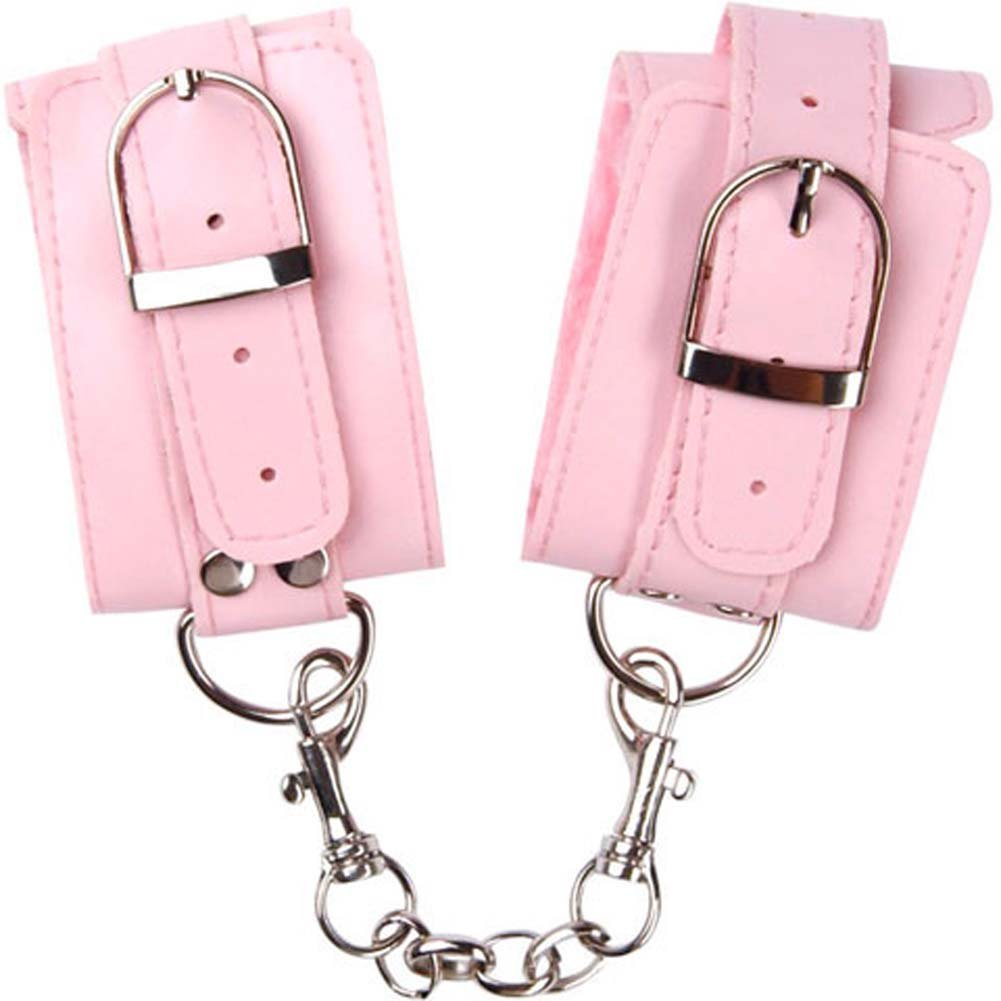 OptiSex Lush Leatherette Cuffs with Chain Blushing Pink - View #2