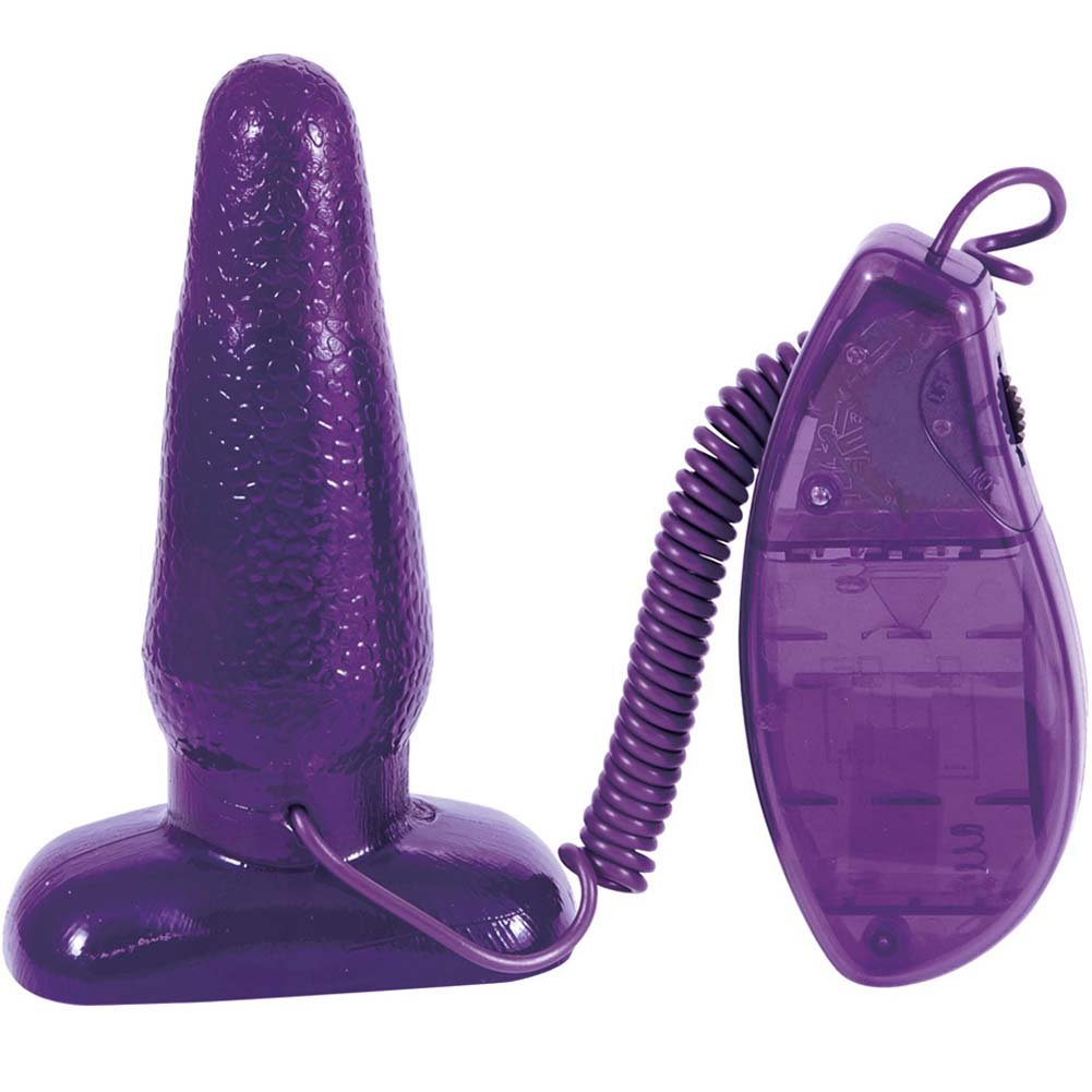 "OptiSex Big Impact Vibrating Butt Plug for Lovers 5"" Naughty Purple - View #2"