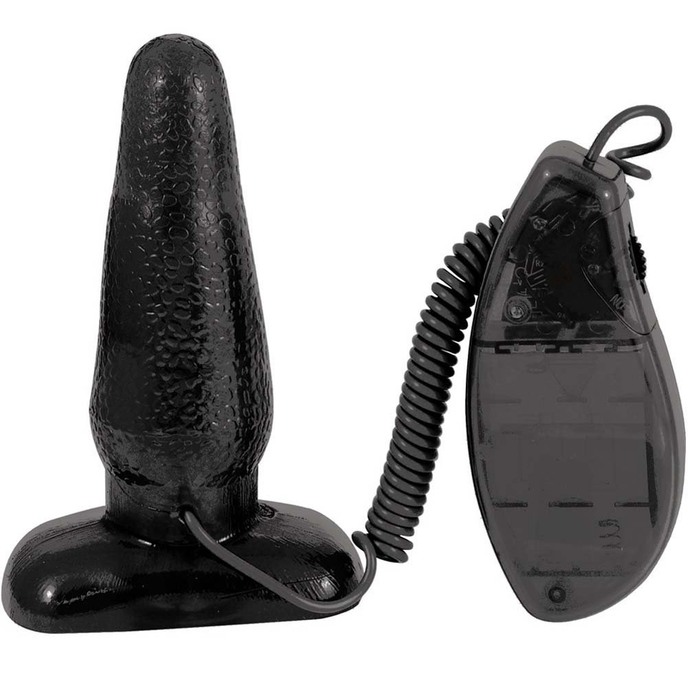 "OptiSex Big Impact Vibrating Butt Plug for Lovers 5"" Kinky Black - View #2"