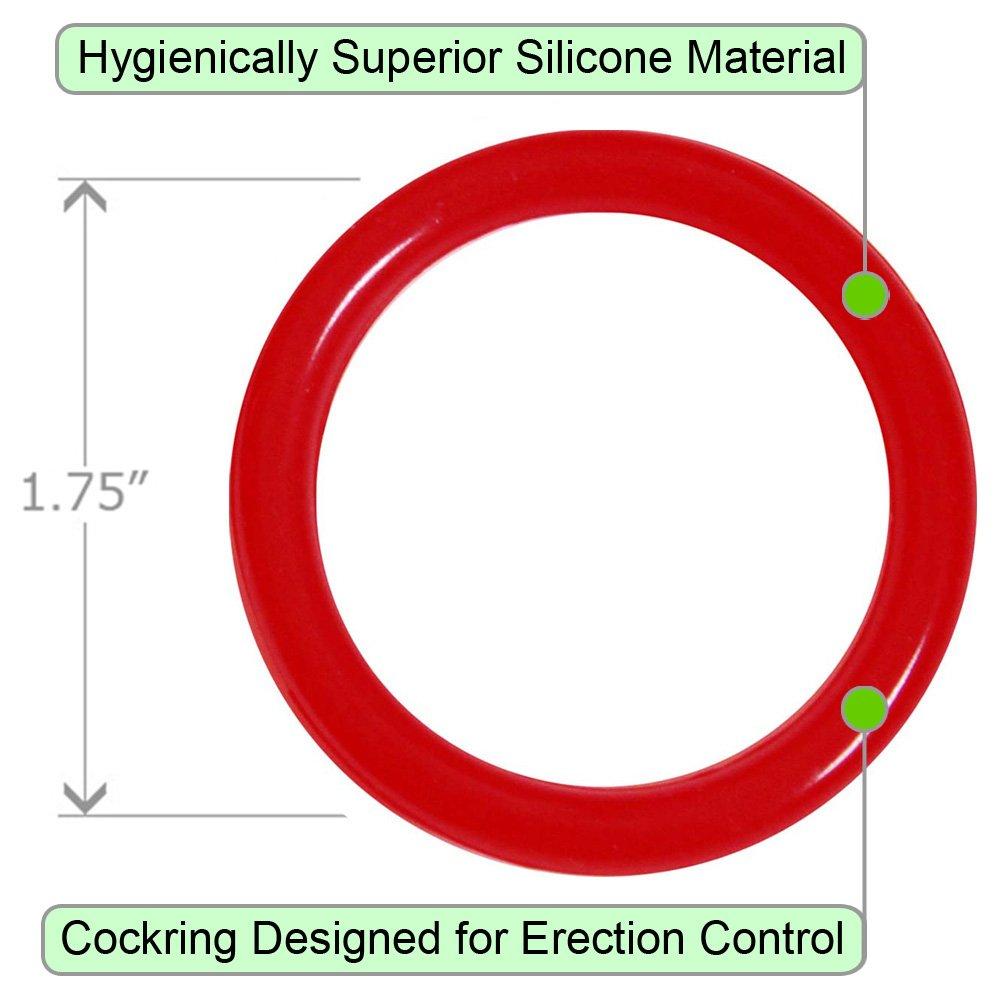 OptiSex Premium Silicone Erection Control Ring Hot Red Large - View #1