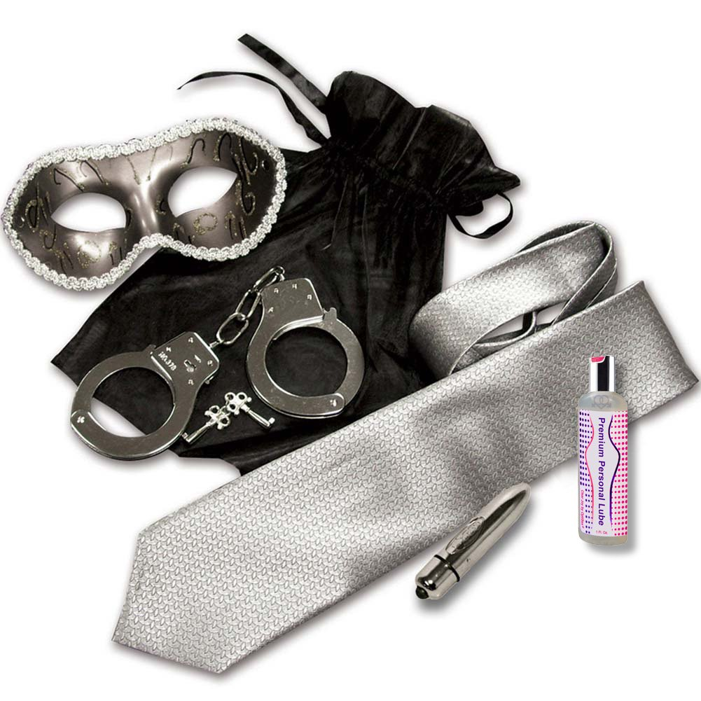 Grey and Silver Shades Mystery Bondage Kit with Vibrating Bullet - View #2
