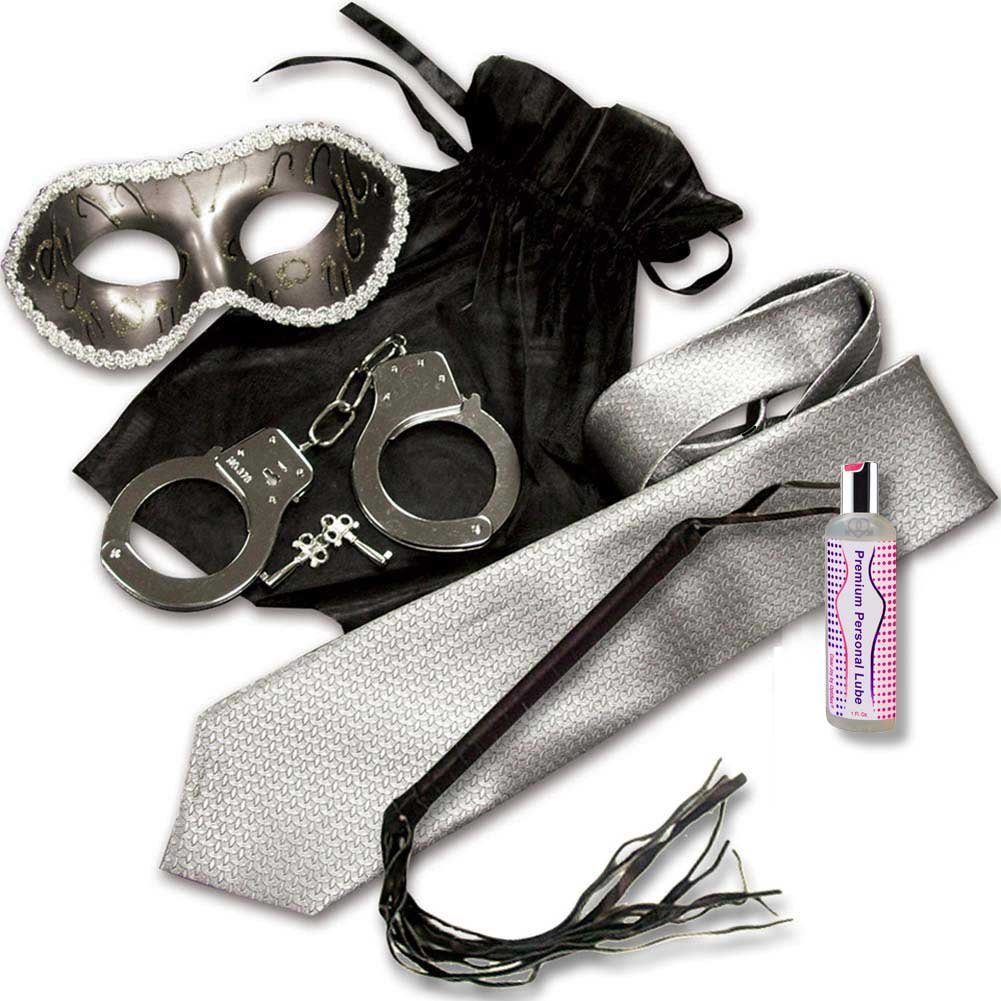 Grey and Silver Shades Mystery Bondage Kit with Leather Flogger - View #2