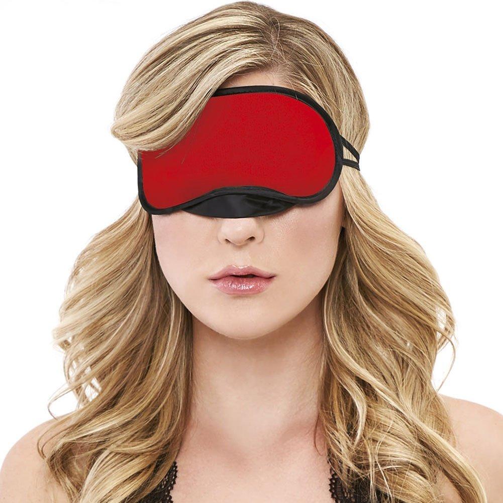 Velvet Double Strap Blindfold Eye Mask Red - View #2