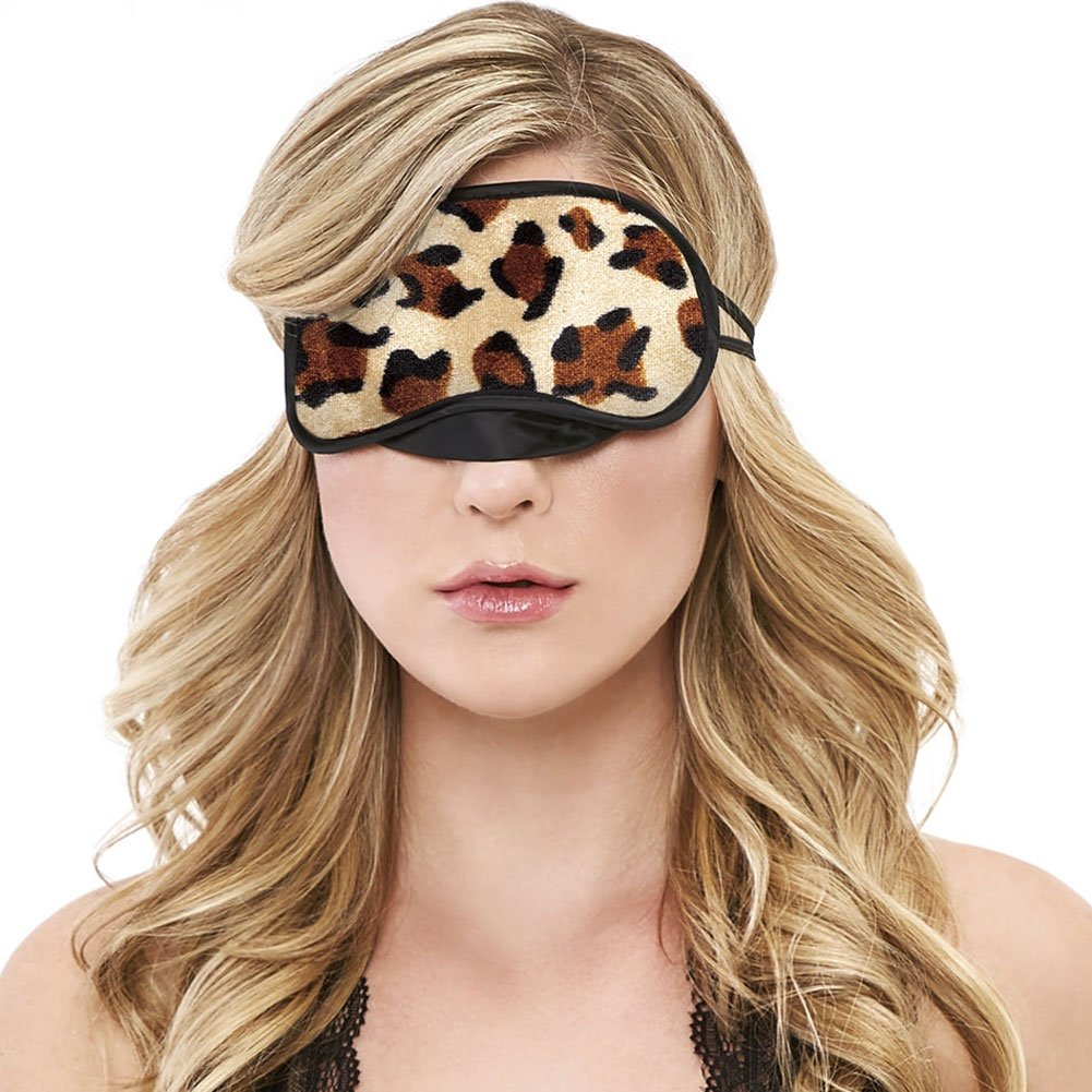Velvet Double Strap Blindfold Eye Mask Leopard - View #2