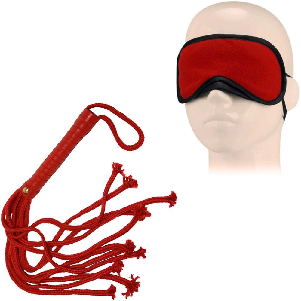 OptiSex Soft Bondage Flogger and Blindfold Kinky Kit Hot Red - View #2