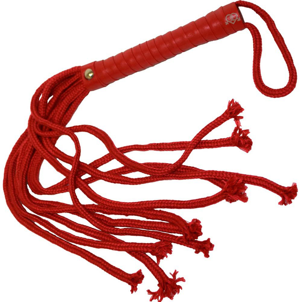 OptiSex Soft Bondage Flogger and Blindfold Kinky Kit Hot Red - View #4