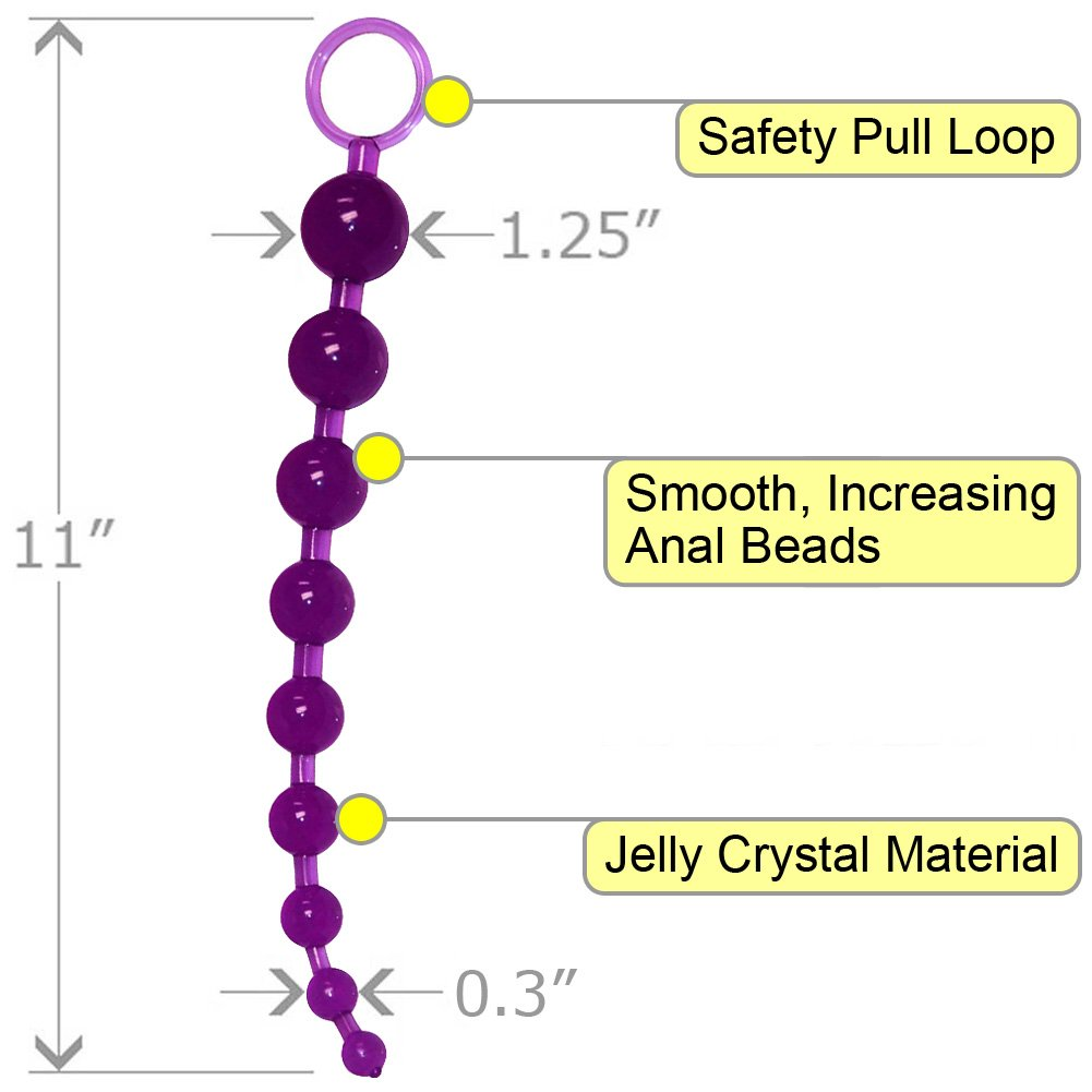 "OptiSex Anal Love Beads with Safety Pull Loop 11"" Playful Purple - View #1"
