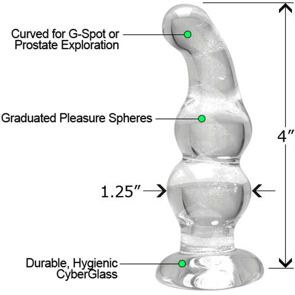 CyberGlass Mini G-Spot Dong and OptiSex Clear Joy Premium Anal Lube Combo 4 Fl. Oz. - View #2