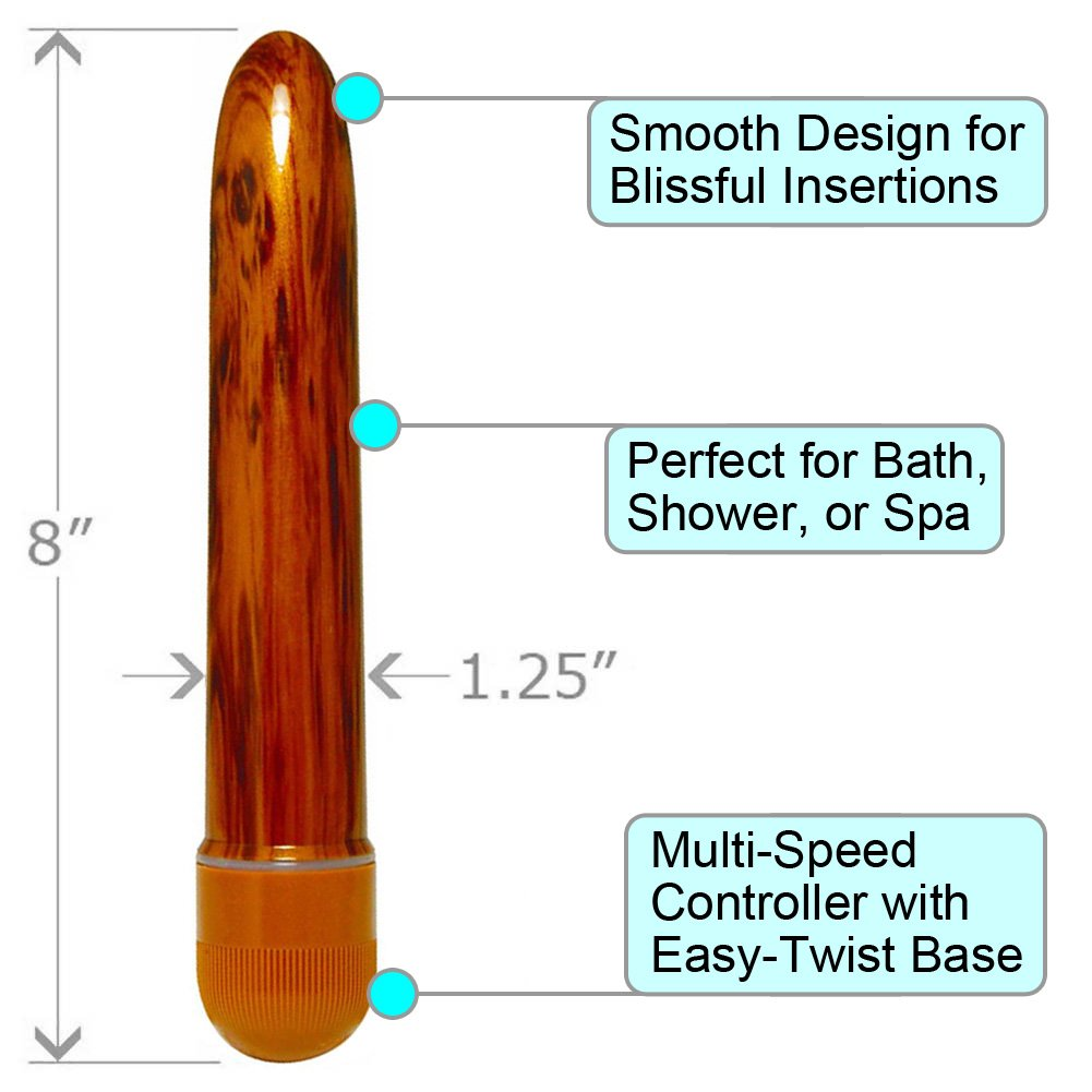 "OptiSex Woody Delight Waterproof Personal Vibrator 8"" Polished Hardwood - View #1"
