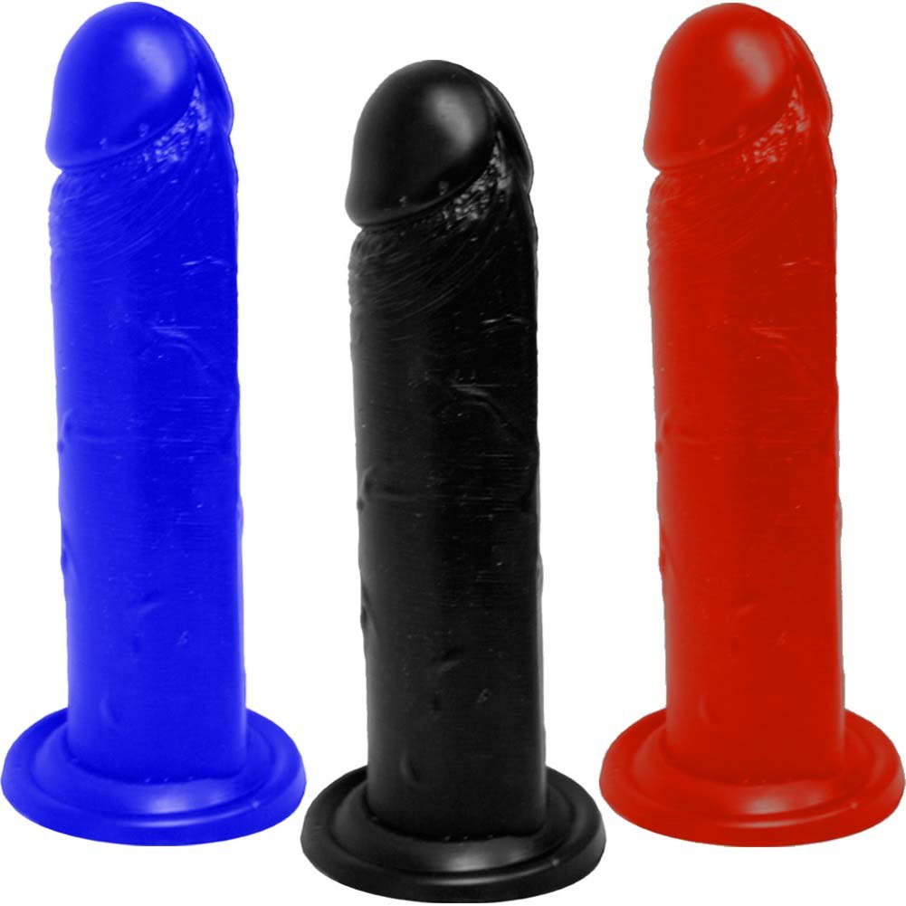 "OptiSex Large Silicone Cock Dildo with Suction Base 8"" Assorted Colors - View #1"