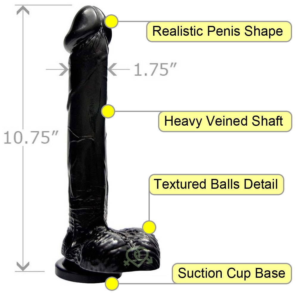"Realistic 10"" Cock and Balls with Suction Mount Base Kinky Black - View #1"