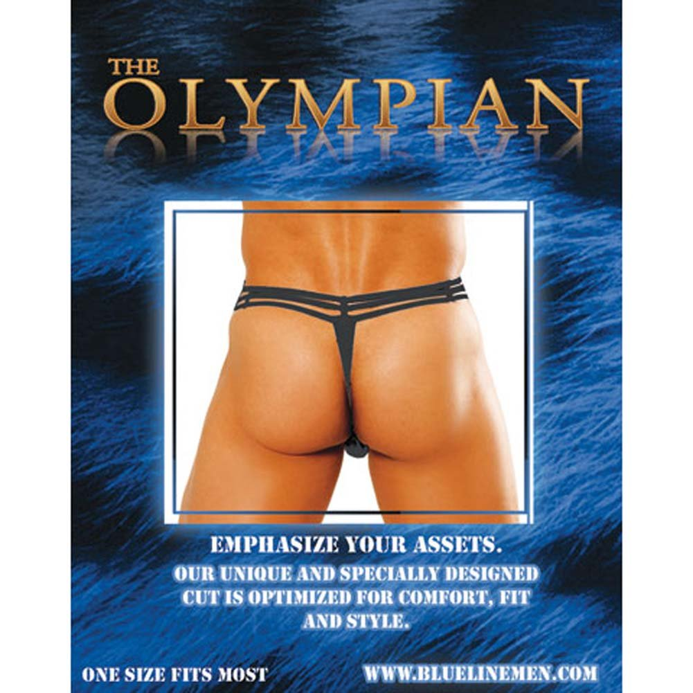 Olympian Male Pouch Thong Black - View #1