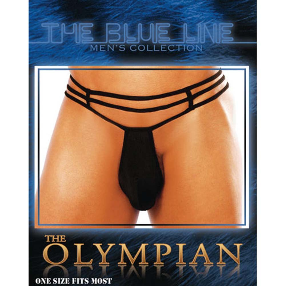 Olympian Male Pouch Thong Black - View #3