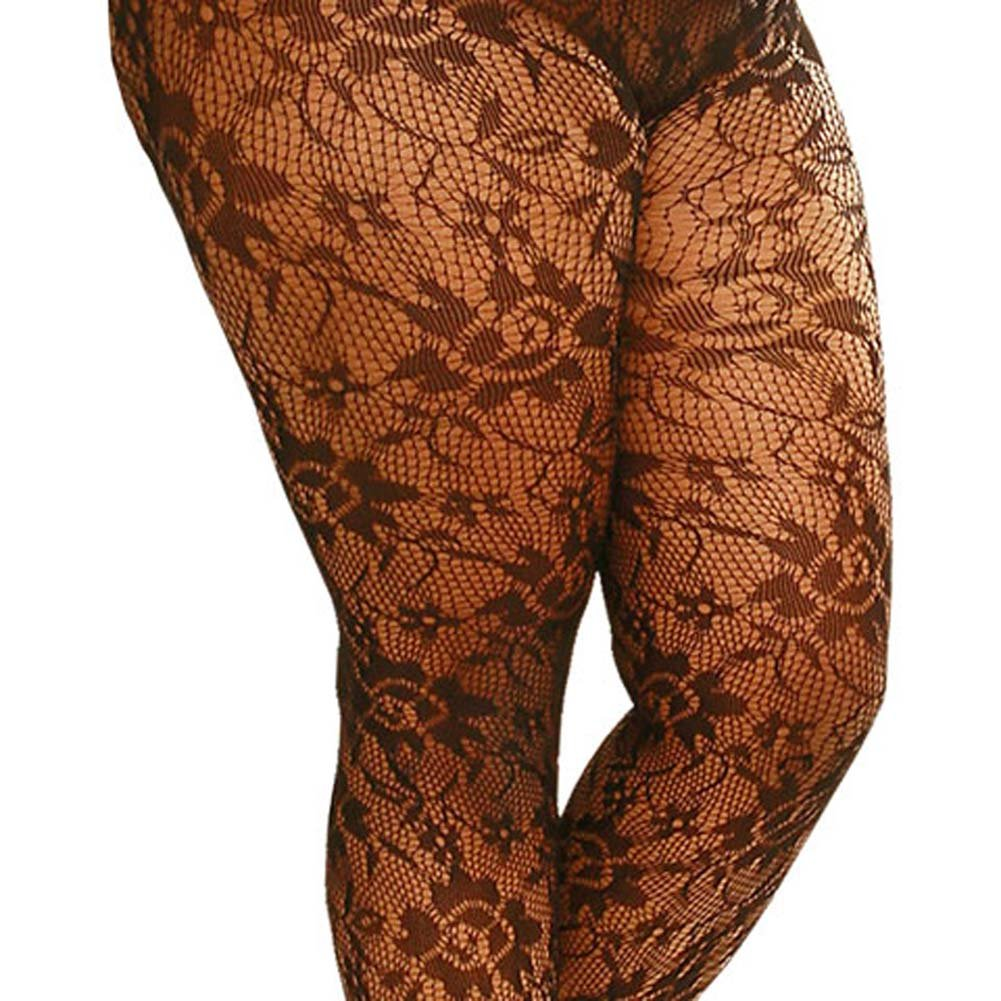 Flower Lace Pantyhose Black Plus Size 1X/3X - View #1
