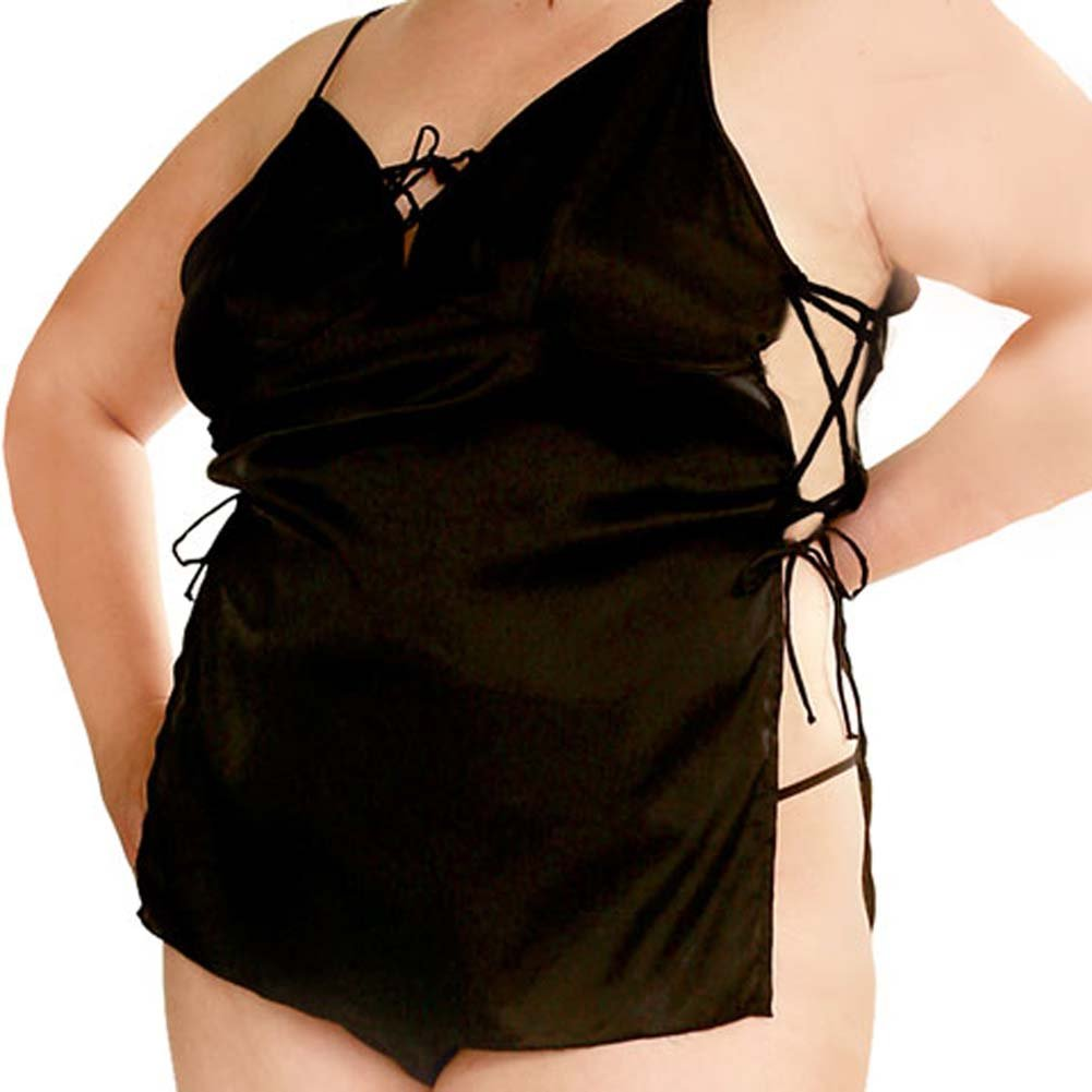Satin Side Tie Slip Dress and G-String Plus Size 1X/3X - View #2