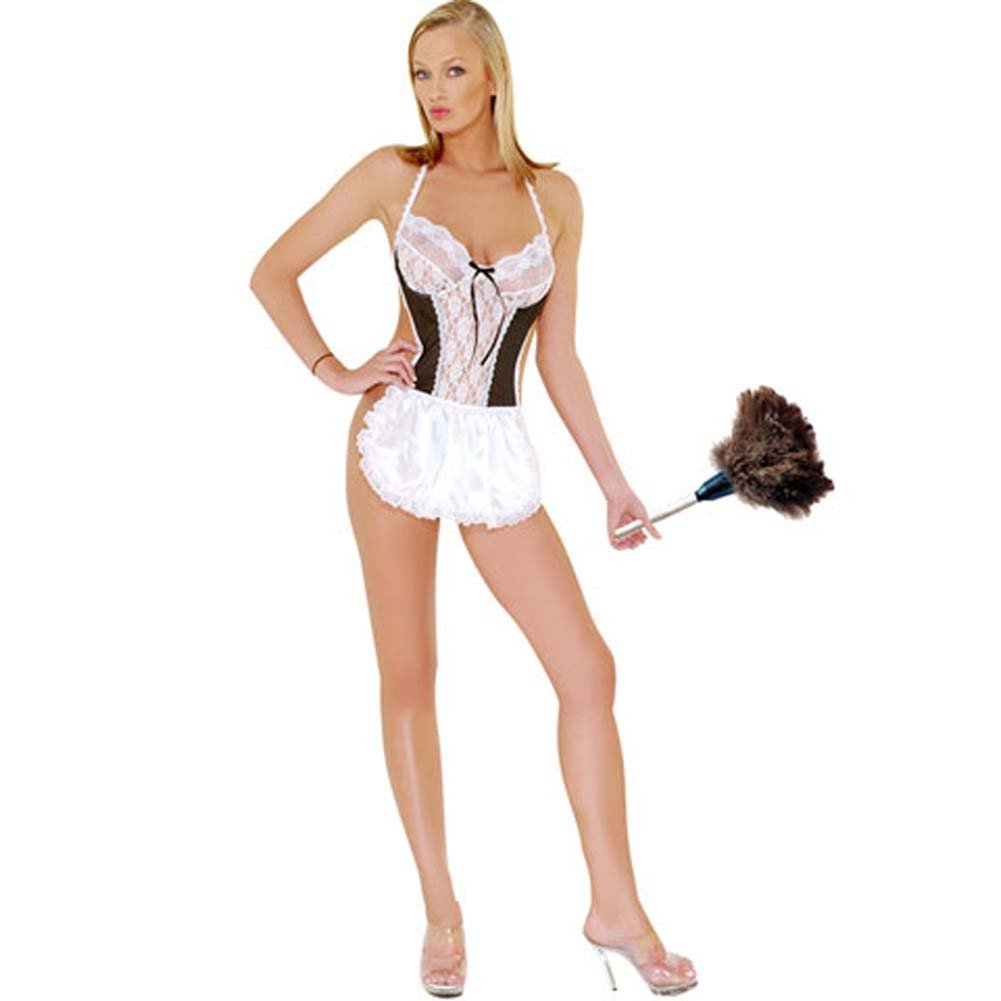 Sexy French Maid Costume One Piece Thong - View #3