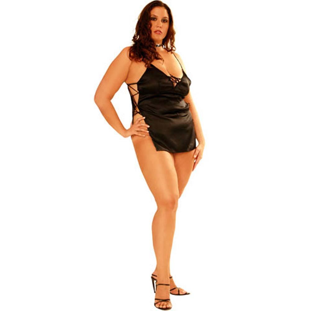 Satin Side Tie Slip Dress and G-String Set Black Plus Size - View #1