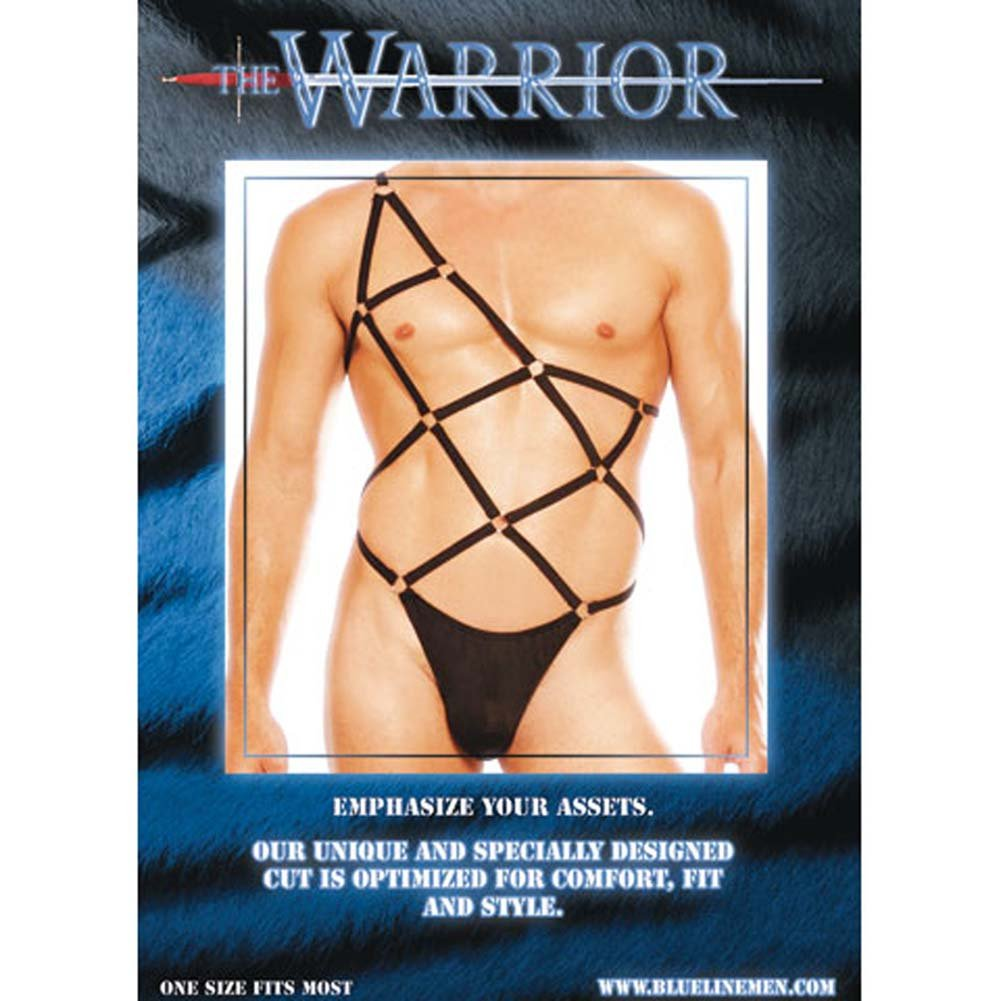 Warrior Male Pouch Thong with Straps Black - View #1