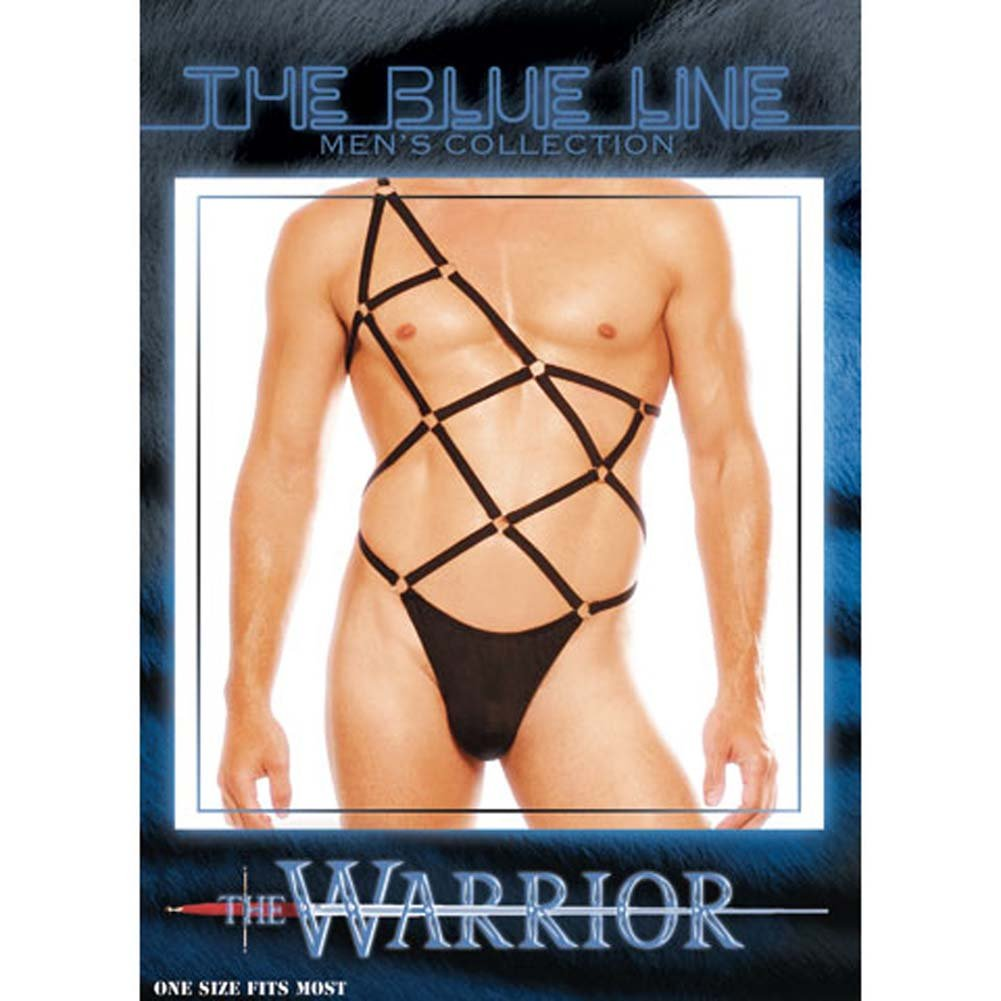 Warrior Male Pouch Thong with Straps Black - View #3
