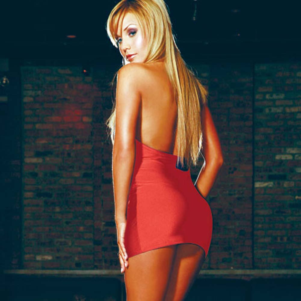 Sexy Seductress Halter Mini Dress Red - View #1