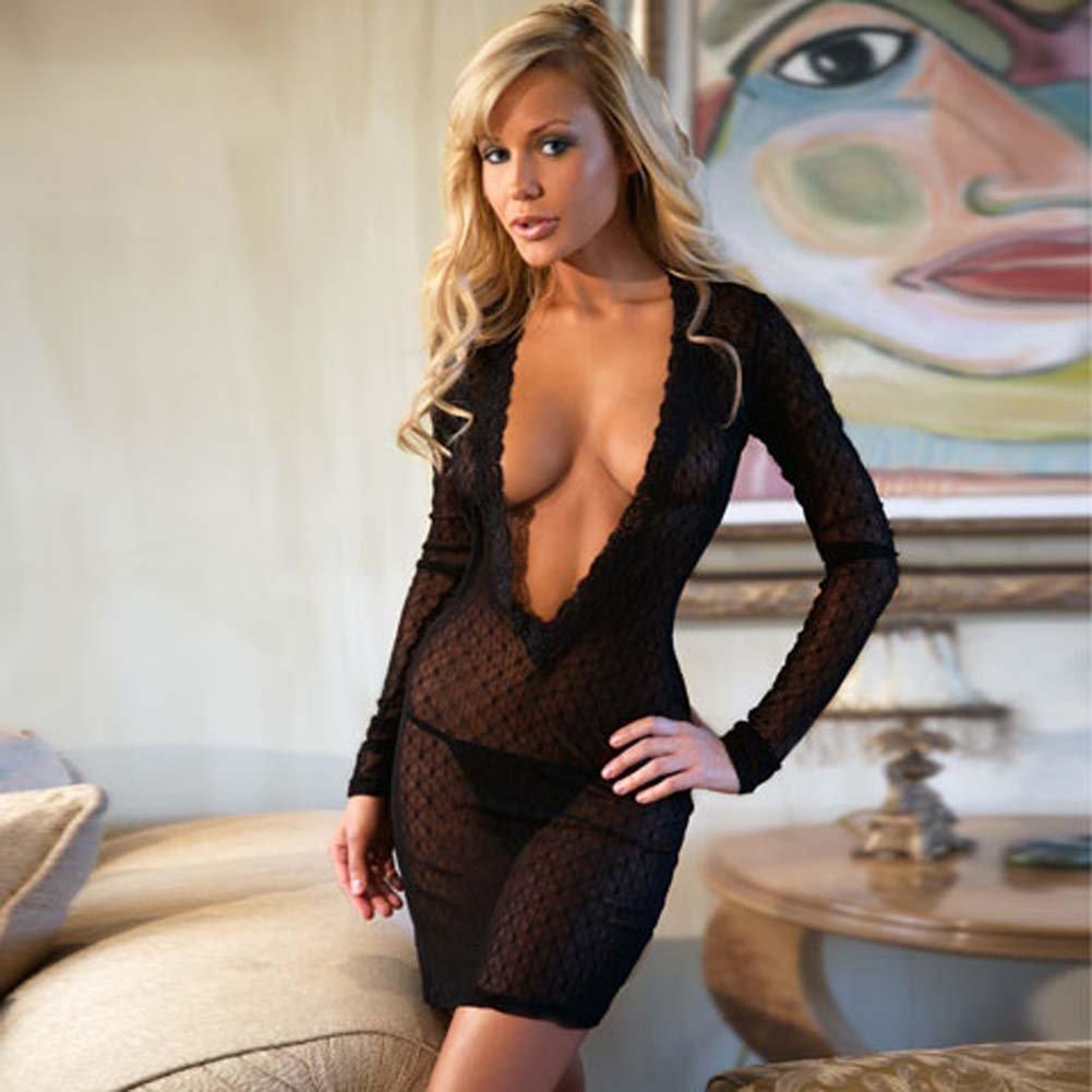 Long Sleeve V Cut Lace Dress Black - View #1