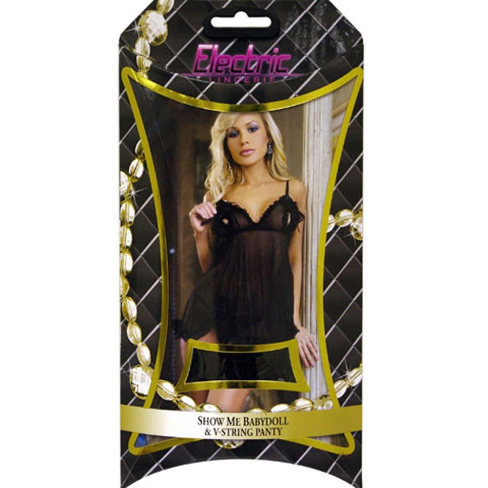 Electric Lingerie Show Me Babydoll and V String Panty Set One Size Black - View #4