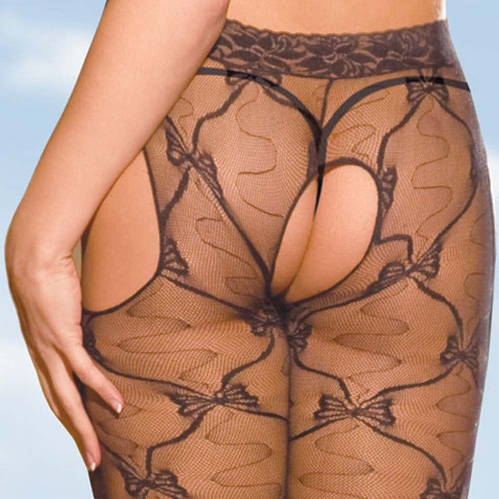 Deep V Suspender Crotchless Lace Bodystocking Black - View #4